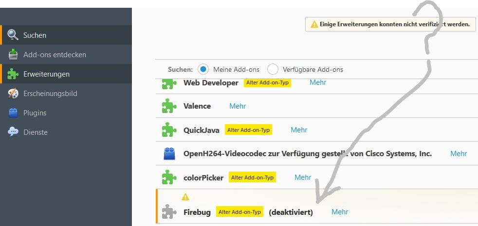 Firefox 57 unterstützt kein Firebug